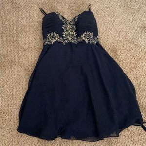 Blue and gold formal dress